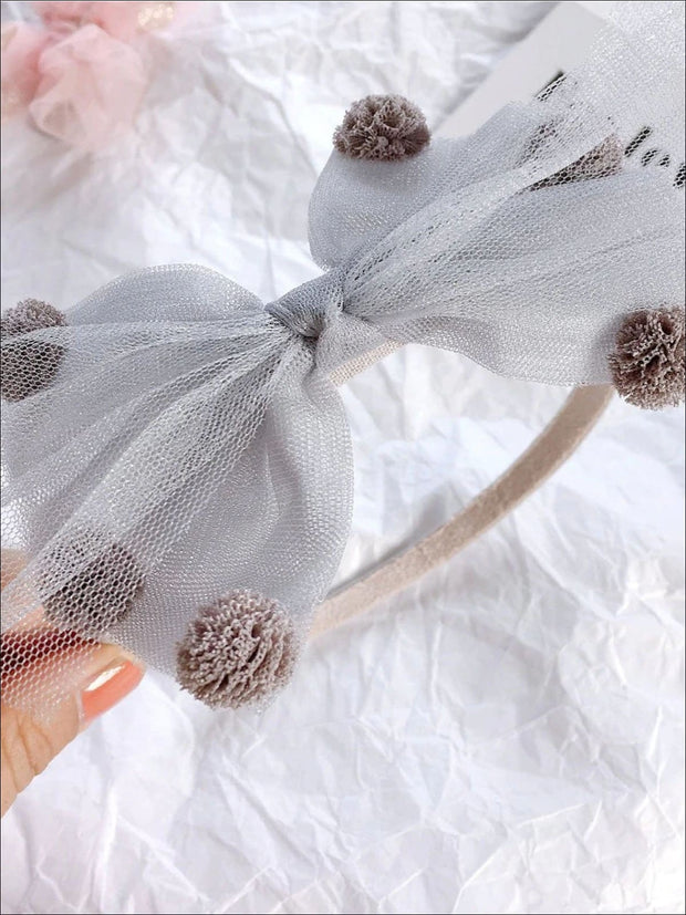 Girls Pom Pom Tulle Bow Headband - Grey - Hair Accessories
