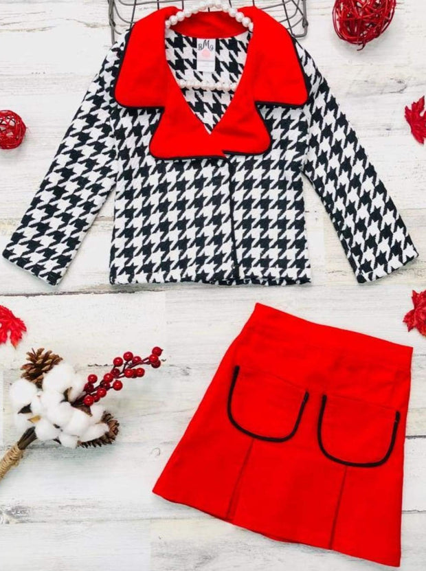 Girls Preppy Black & White Houndstooth Tweed Red Collared Blazer & Red Pleated Pocket Skirt Set - Red / 2T/3T - Girls Fall Dressy Set