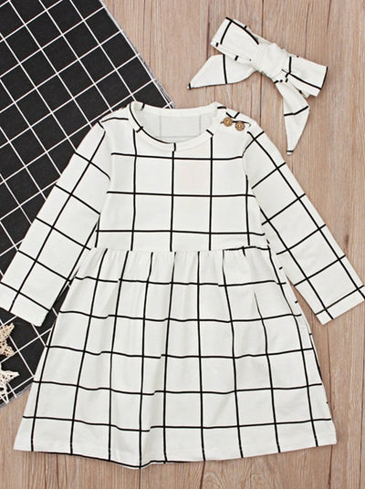 Girls Preppy Black & White Long Sleeve Casual Dress With Matching Headband - Black & White / 2T - Girls Fall Casual Dress