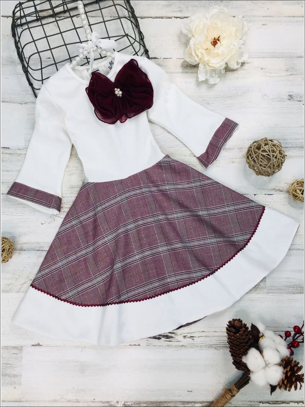 Girls Preppy Burgundy & Creme Circular Skirt 3/4 Sleeve Dress - Girls Fall Dressy Dress