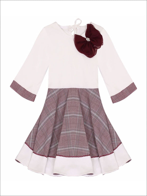 Girls Preppy Burgundy & Creme Circular Skirt 3/4 Sleeve Dress - 2T/3T / Burgundy & Creme - Girls Fall Dressy Dress