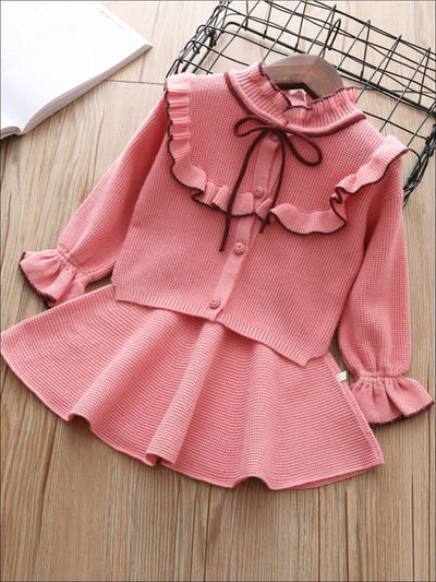 Girls Preppy Button Up Bow Tie Collar Sweater With Ruffle Trim Detail & Matching Skirt Set - Pink / 5Y - Girls Fall Dressy Set