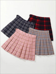 Girls Preppy Casual Plaid Pleated Skirt - Girls Skirt