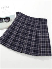 Girls Preppy Casual Plaid Pleated Skirt - Black / 3T - Girls Skirt