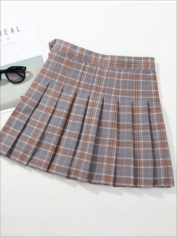 Girls Preppy Casual Plaid Pleated Skirt - Gray / 3T - Girls Skirt