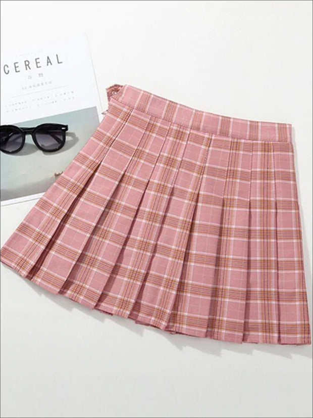 Girls Preppy Casual Plaid Pleated Skirt - Pink / 3T - Girls Skirt
