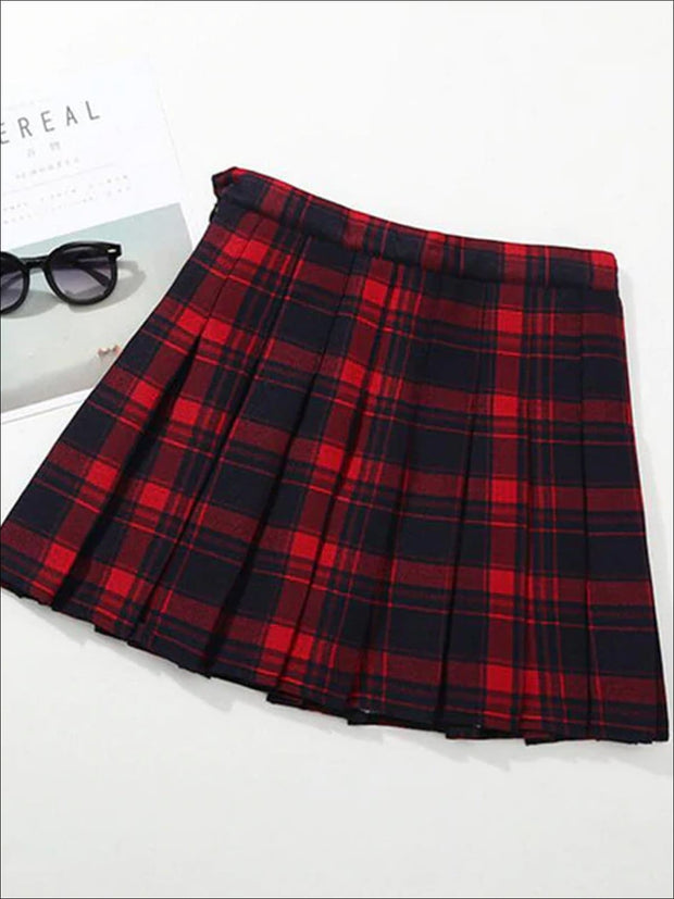 Girls Preppy Casual Plaid Pleated Skirt - Red / 3T - Girls Skirt