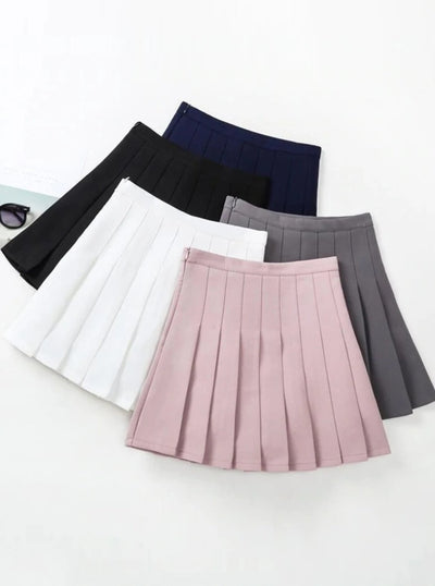 Girls Preppy Casual Pleated Skirt - Black / 24M - Girls Spring Skirt