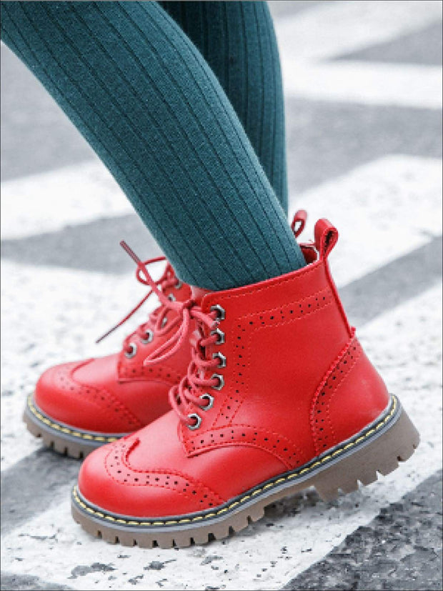 Girls Preppy Dr. Martin Inspired Boots (Pink Black & Red) - Girls Boots