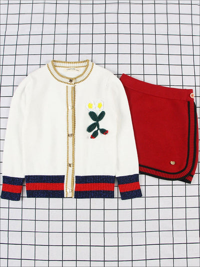 Girls Preppy Embroidered Button Down Sweater & Red Mini Skirt Set - Red / 2T - Girls Fall Dressy Set