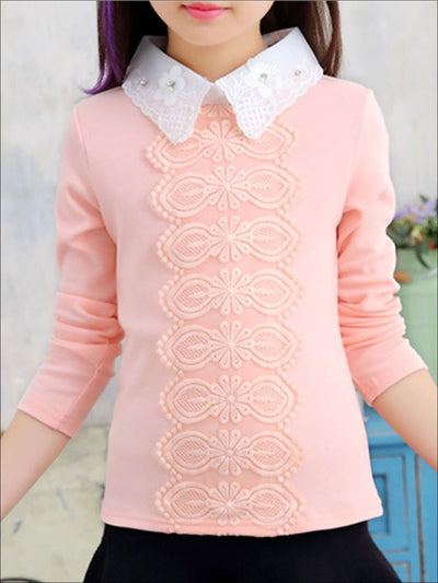 Girls Preppy Floral Lace Applique Long Sleeve Top - Pink / 3T - Girls Fall Top