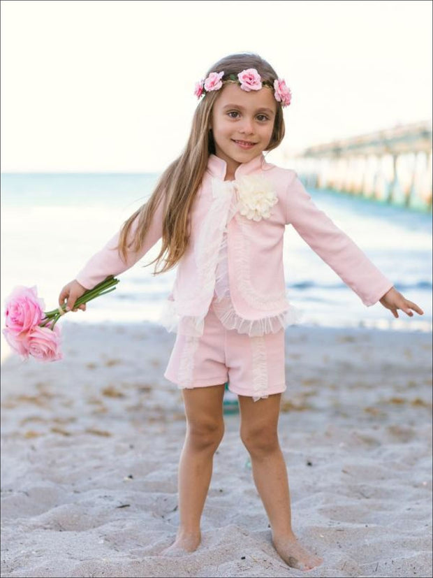 Girls Preppy Flower Trim Ruffled Jacket & Shorts Set - Girls Spring Dressy Set