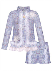 Girls Preppy Flower Trim Ruffled Jacket & Shorts Set - Blue / 2T/3T - Girls Spring Dressy Set