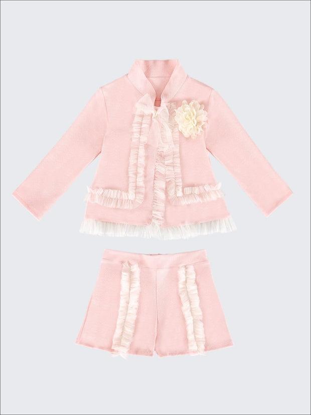 Girls Preppy Flower Trim Ruffled Jacket & Shorts Set - Blush / 2T/3T - Girls Spring Dressy Set