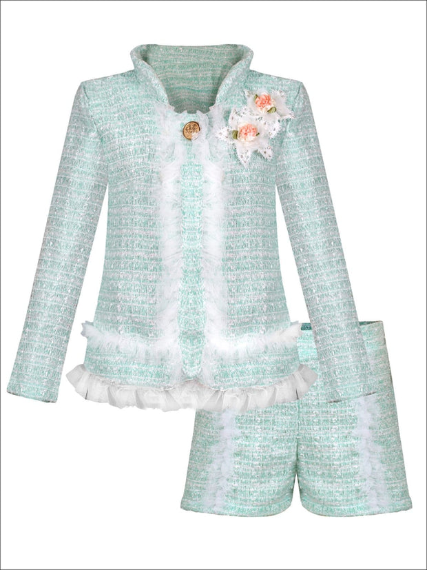 Girls Preppy Flower Trim Ruffled Jacket & Shorts Set - Mint / 2T/3T - Girls Spring Dressy Set