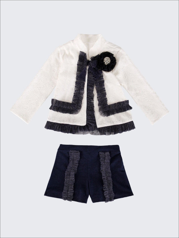 Girls Preppy Flower Trim Ruffled Jacket & Shorts Set - Navy / 2T/3T - Girls Spring Dressy Set