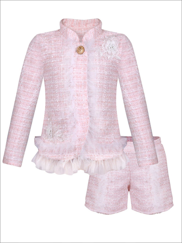 Girls Preppy Flower Trim Ruffled Jacket & Shorts Set - Pink / 2T/3T - Girls Spring Dressy Set