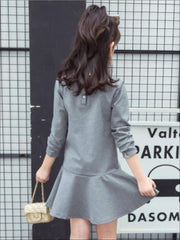 Girls Preppy Grey Vogue-ish Long Sleeve Dress - Girls Fall Casual Dress