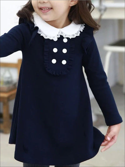 Girls Preppy Lace Hem Flat Collar Long Sleeve Dress With Button & Ruffle Detail - Navy / 3T - Girls Fall Casual Dress