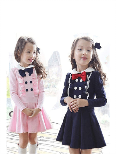 Girls Preppy Lapel Ruffled Long Sleeve A-Line Dress ( 2 Color Options) - Girls Fall Casual Dress