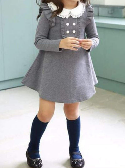 Girls Preppy Long Sleeve Ruffle Collar Button Up Mini Dress - Girls Fall Casual Dress