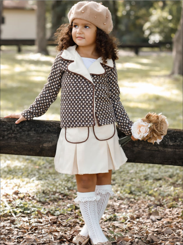 Girls Preppy Mocha & Beige Polka Dot Tweed Collared Blazer & Matching Pleated Pocket Skirt Set - Girls Fall Dressy Set
