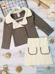 Girls Preppy Mocha & Beige Polka Dot Tweed Collared Blazer & Matching Pleated Pocket Skirt Set - Mocha & Beige / 2T/3T - Girls Fall Dressy