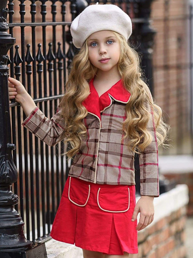 Girls Preppy Mocha & Red Plaid Red Collared Blazer & Red Pleated Pocket Skirt Set - Girls Fall Dressy Set