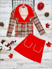 Girls Preppy Mocha & Red Plaid Red Collared Blazer & Red Pleated Pocket Skirt Set - Red / 2T/3T - Girls Fall Dressy Set