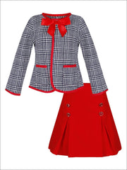 Girls Preppy Navy & Creme Tweed Red Bow Pocket Jacket & Red Pleated Skirt Set - Girls Fall Dressy Set