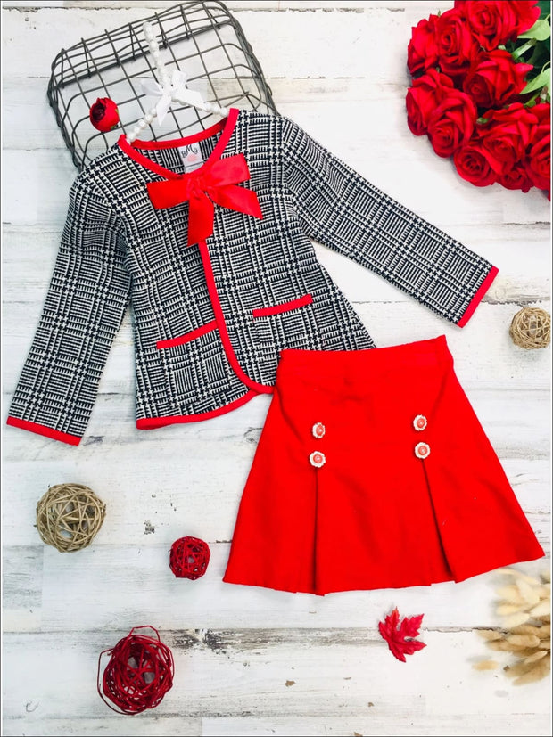 Girls Preppy Navy & Creme Tweed Red Bow Pocket Jacket & Red Pleated Skirt Set - Red / 2T/3T - Girls Fall Dressy Set