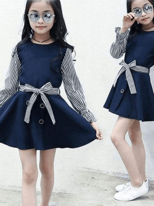 Girls Preppy Navy & White Striped Long Sleeve A-Line Dress - Girls Fall Casual Dress