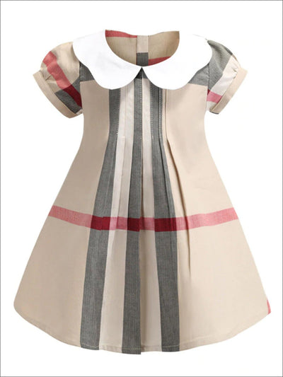 Girls Preppy Peter Pan Collar Plaid Dress - Khaki / 2T - Girls Spring Casual Dress