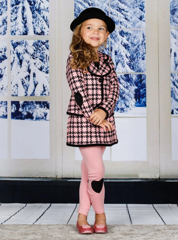 Girls Preppy Pink & Black Plaid Blazer with Heart Patches & Matching Skirted Leggings Set - Girls Fall Dressy Set
