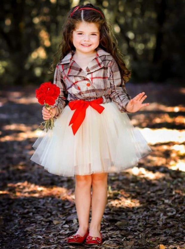 Girls Preppy Plaid Blazer Buttoned Tutu Dress with Ribbon Sash - Beige / 2T-3T - Girls Fall Dressy Dress