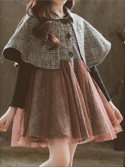 Girls Preppy Plaid Cape Tulle Tutu Dress - Girls Fall Casual Dress