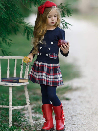 Girls Preppy Plaid Long Sleeve Tunic Dress - Blue / 3T - Girls Fall Casual Dress