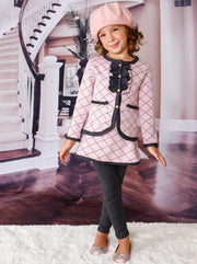 Girls Preppy Pleated Print Ruffled Buttoned Jacket with Faux Pockets & Matching Skirted Leggings Set - Girls Spring Dressy Set