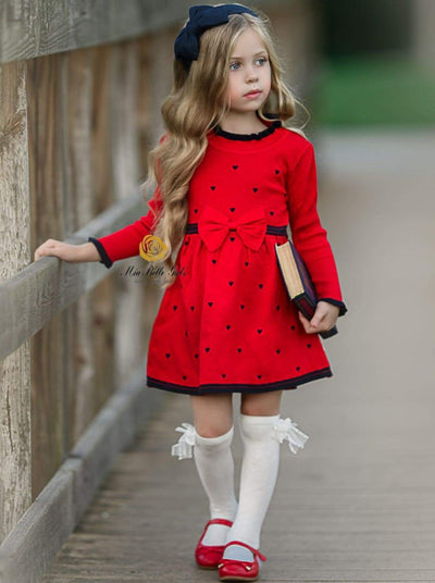 Girls Preppy Puff Sleeve Heart Print with Bow Detail Knit Dress - Girls Fall Casual Dress