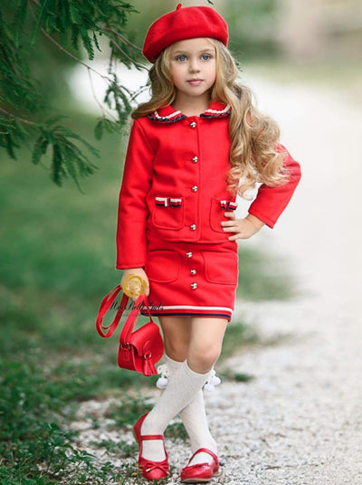 Girls Preppy Red Frill Trim Collar Button Up Blazer & Matching Mini Skirt Set - Red / 3T - Girls Fall Dressy Set