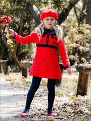 Girls Preppy Red & Navy Lace Ruffled Collar A-Line Dress - Girls Fall Dressy Dress