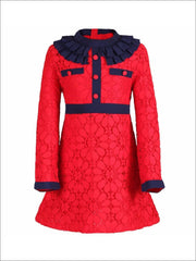 Girls Preppy Red & Navy Lace Ruffled Collar A-Line Dress - Red/Navy / 2T - Girls Fall Dressy Dress