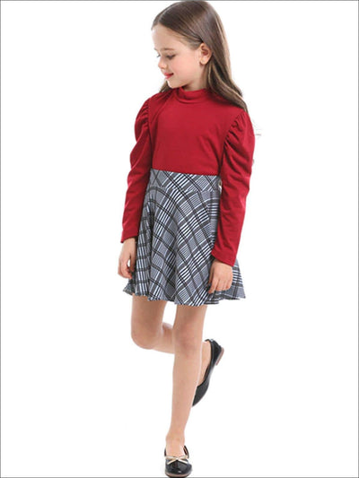 Girls Preppy Red Puff Sleeve Mock Neck Top & Grey Plaid Skirt Set - Girls Fall Dressy Set