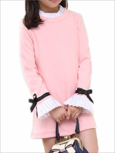 Girls Preppy Round Neck Frill Cuff Long Sleeve Dress - Pink / 3T - Girls Fall Casual Dress
