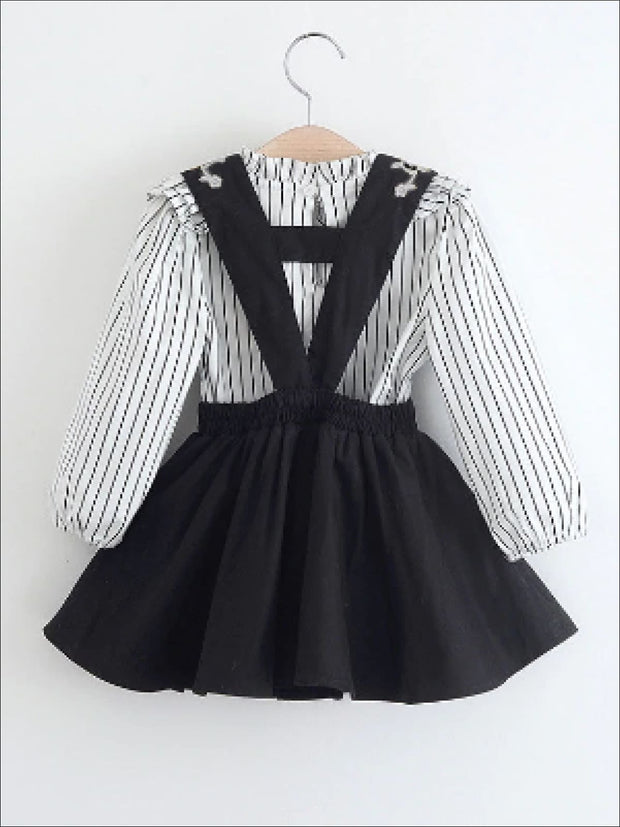 Girls Preppy Ruffle Striped Long Sleeve Blouse & Embroidered Skirt Set - Girls Fall Casual Set