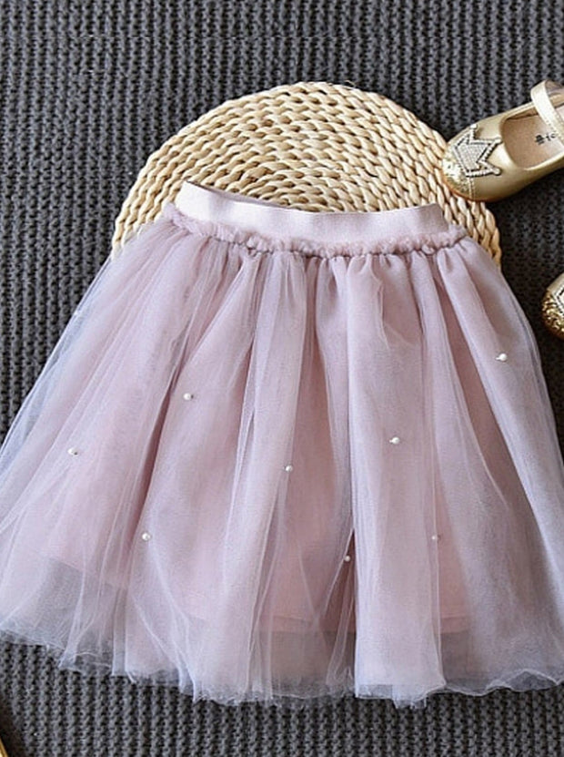 Girls Preppy Ruffled Floral Embroidery Denim Top & Pink Tutu Skirt Set - Girls Fall Casual Set