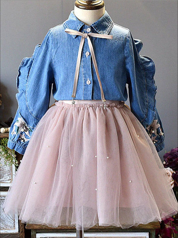 Girls Preppy Ruffled Floral Embroidery Denim Top & Pink Tutu Skirt Set - Blue & Pink / 3T - Girls Fall Casual Set