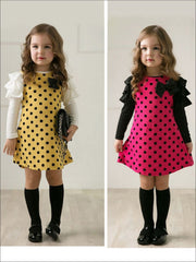 Girls Preppy Ruffled Long Sleeve Polka Dot Dress ( 2 Color Options) - Girls Fall Casual Dress
