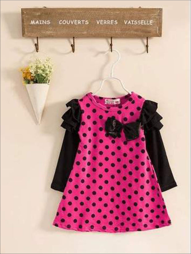 Girls Preppy Ruffled Long Sleeve Polka Dot Dress ( 2 Color Options) - Hot Pink / 2T - Girls Fall Casual Dress