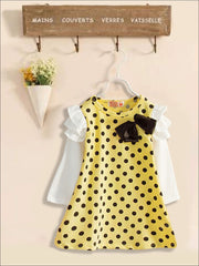 Girls Preppy Ruffled Long Sleeve Polka Dot Dress ( 2 Color Options) - Yellow / 2T - Girls Fall Casual Dress